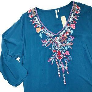 Grand&Greene Teal Floral Embroidered V Neck Blouse
